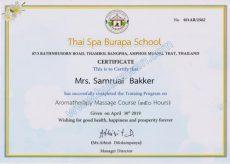 Certificates Aroma oil massage - English