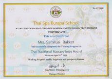 Certificates Thai Traditional massage - English